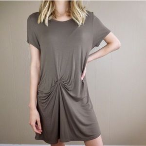 Anthropologie Deletta Brown Knotted T Shirt Dress